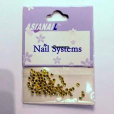 Nail art Glitterstones Yellow, ronde diamantjes