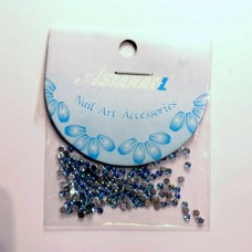 Nail art Glitterstones Light Blue, ronde diamantjes