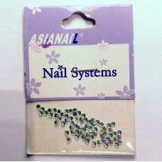 Nail art Glitterstones Light Green, ronde diamantjes