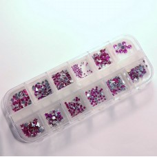 Glitterstone set 12 shapes Fuchsia